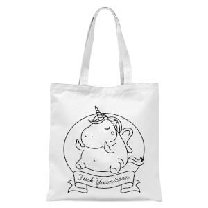 Bad Language Unicorn Fuck Younicorn Tote Bag - White