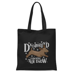 Dachshund Through The Snow Tote Bag - Black