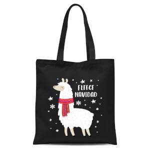 Fleece Navidad Tote Bag - Black
