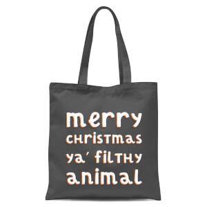 Merry Christmas Ya Filthy Animal Tote Bag - Grey