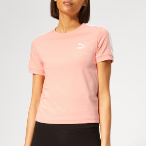 Puma Women's Classics T7 Short Sleeve T-Shirt - Peach Bud