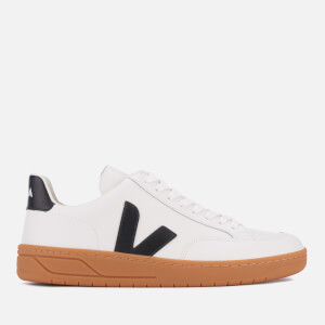 Veja Men's V-12 Leather Trainers - Extra White/Black/Natural Sole