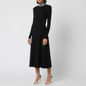 Christopher Kane Women's Ribbed Crystal Dress - Black