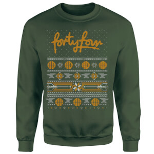 How Ridiculous Forty Four Knit Christmas Sweatshirt - Forest Green