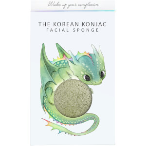 The Konjac Sponge Company Mythical Dragon Konjac Sponge Box and Hook -kasvosienisetti 30g, Green Clay