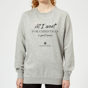 All I Want for Christmas Is Great Brows Women's Christmas Sweatshirt - Grey