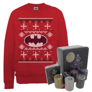 DC Batman Logo Christmas Jumper And Joker Poker Bundle - Red
