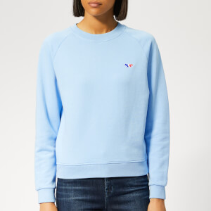 Maison Kitsuné Women's Tricolor Fox Patch Sweatshirt - Light Blue