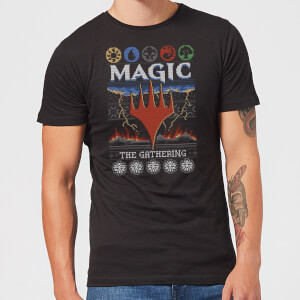 Magic The Gathering Colours Of Magic Knit Men's Christmas T-Shirt - Black