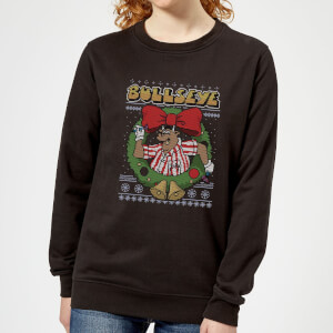 Bullseye Bullseye Wreath Women's Christmas Sweatshirt - Black