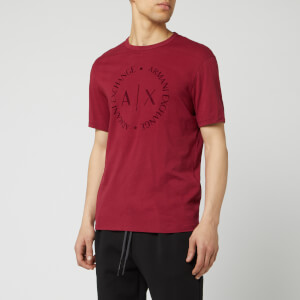 Armani Exchange Men's Round Script Logo T-Shirt - Biking Red
