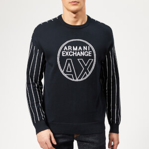 Armani Exchange Men's Logo Knit Jumper - Navy/White