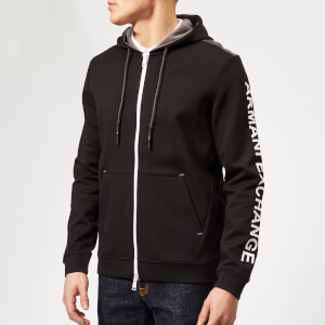 Armani Exchange Men's Sleeve Logo Hoodie - Black