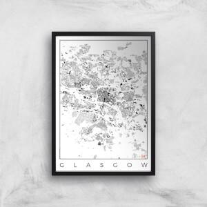 City Art Black and White Glasgow Map Art Print