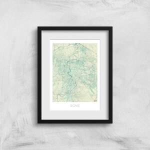 City Art Coloured Rome Map Art Print