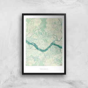 City Art Coloured Seoul Map Art Print