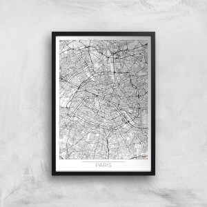 City Art Black and White Outlined Paris Map Art Print