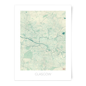 Coloured Glasgow Map Art Print