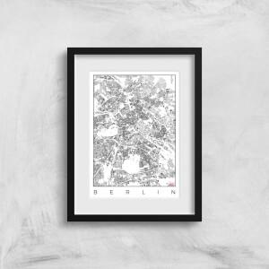 City Art Black and White Berlin Map Art Print