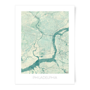City Art Coloured Philadelphia Map Art Print