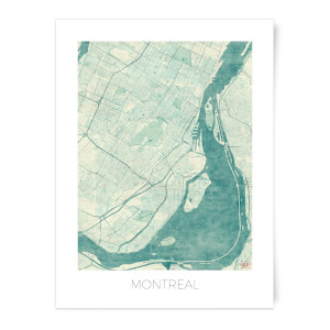 City Art Coloured Montreal Map Art Print