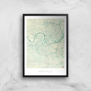 City Art Coloured Nashville Map Art Print