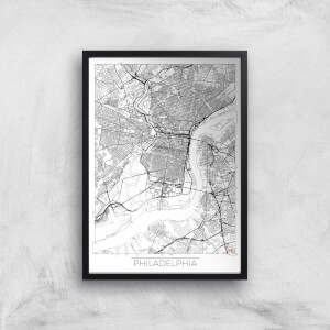 City Art Black and White Outlined Philadelphia Map Art Print