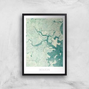 City Art Coloured Boston Map Art Print