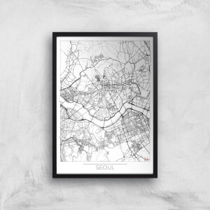City Art Black and White Outlined Seoul Map Art Print