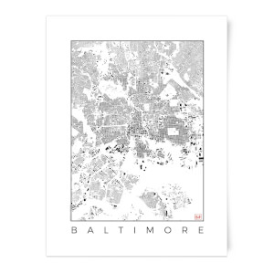 City Art Black and White Baltimore Map Art Print