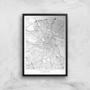 City Art Black and White Outlined Dublin Map Art Print