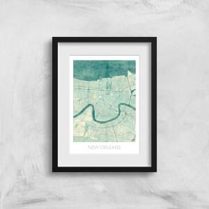 City Art Coloured New Orleans Map Art Print