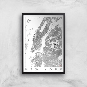 City Art Black and White New York Map Art Print