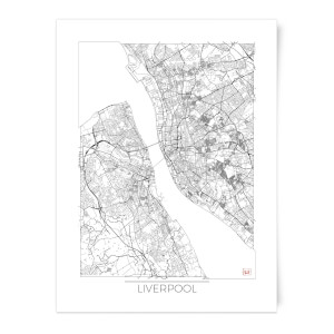 Black and White Outlined Liverpool Map Art Print