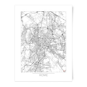 Black and White Outlined Rome Map Art Print