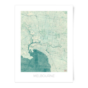 City Art Coloured Melbourne Map Art Print