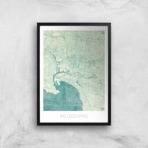 City Art Coloured Melbourne Map Art Print