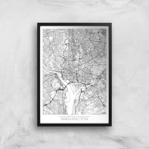 City Art Black and White Outlined Washington Map Art Print
