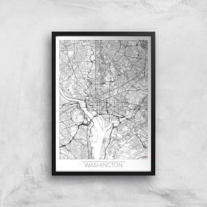 City Art Black and White Outlined Washington Map Art Print