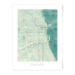 City Art Coloured Chicago Map Art Print