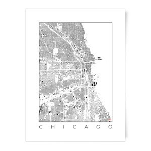 Black and White Chicago Map Art Print