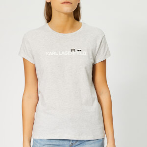 Karl Lagerfeld Women's Ikonik & Logo T-Shirt - Light Grey Melange