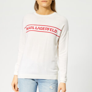 Karl Lagerfeld Women's Crew Neck Logo Sweater - Whisper White