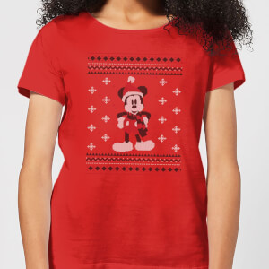 Disney Mickey Scarf Women's Christmas T-Shirt - Red