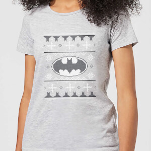 DC Batman Knit Women's Christmas T-Shirt - Grey