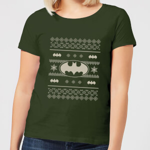DC Batman Knit Pattern Women's Christmas T-Shirt - Forest Green