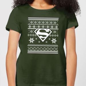 DC Superman Women's Christmas T-Shirt - Forest Green