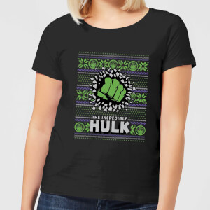 Marvel Hulk Punch Women's Christmas T-Shirt - Black