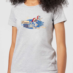 Looney Tunes Peace Among Earthlings Women's Christmas T-Shirt - Grey
