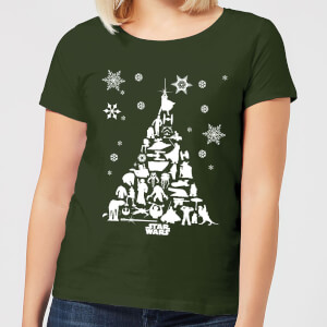 Star Wars Character Christmas Tree Women's Christmas T-Shirt - Forest Green